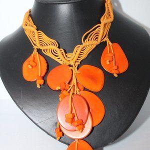 Tangerine Macrame Dangly Necklace